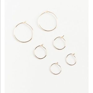Urban brass wire hoop earring set